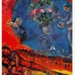 Chagall Lovers Red Background